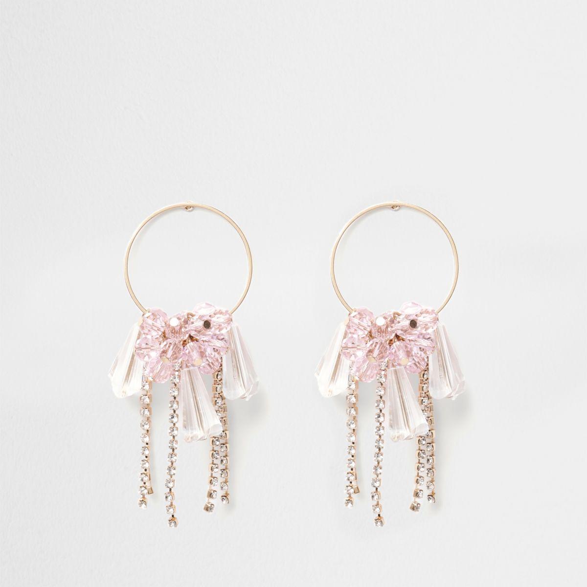 Gold tone jewel cup chain drop hoop earrings