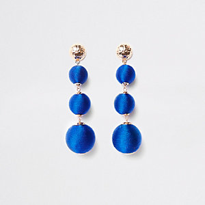 Blue triple ball drop earrings
