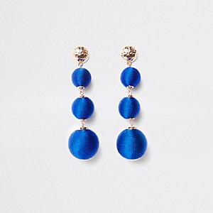 Pendants d'oreilles bleus à trois boules en perles