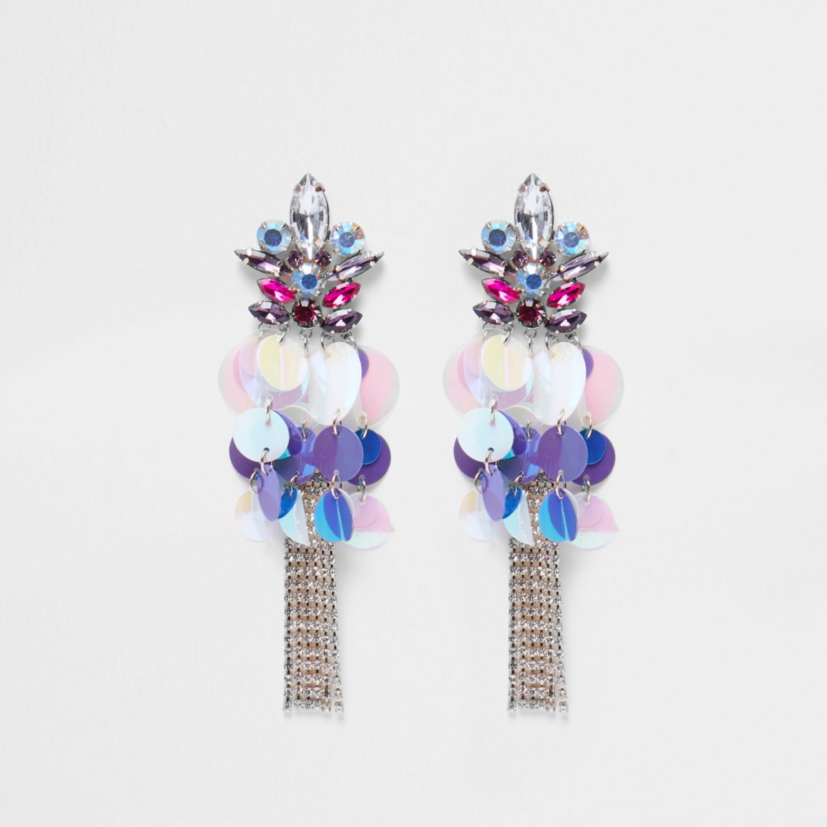 Pink sequin disc cup chain stud drop earrings