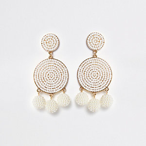 White seedbead triple ball drop earrings