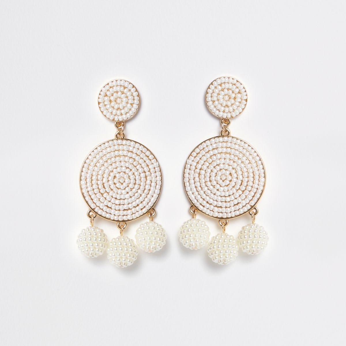 White seedbead triple ball drop earrings