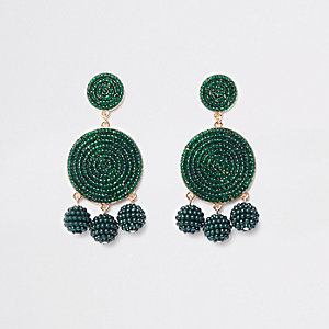 Dark green seedbead triple ball drop earrings