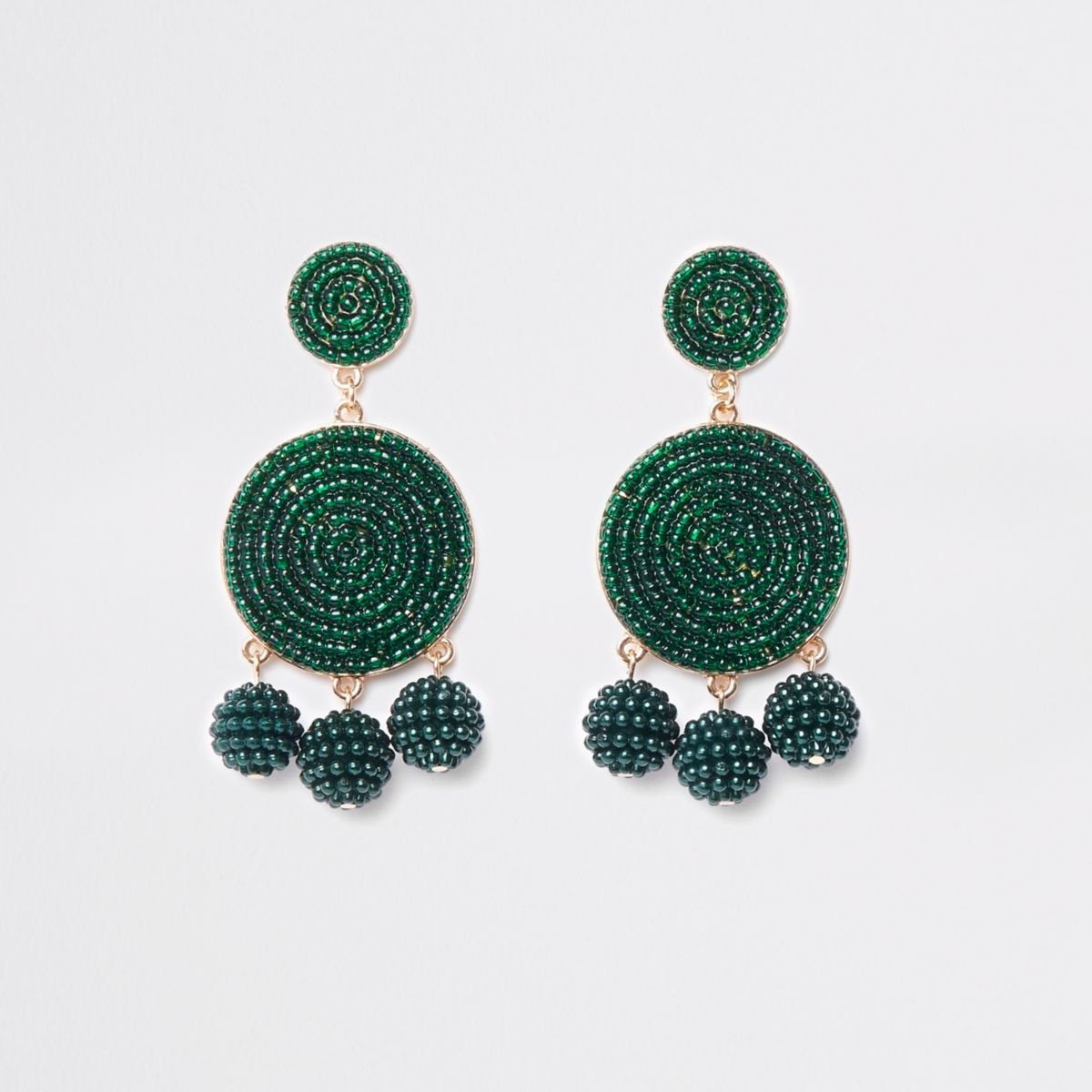 Dark green seedbead triple ball drop earrings