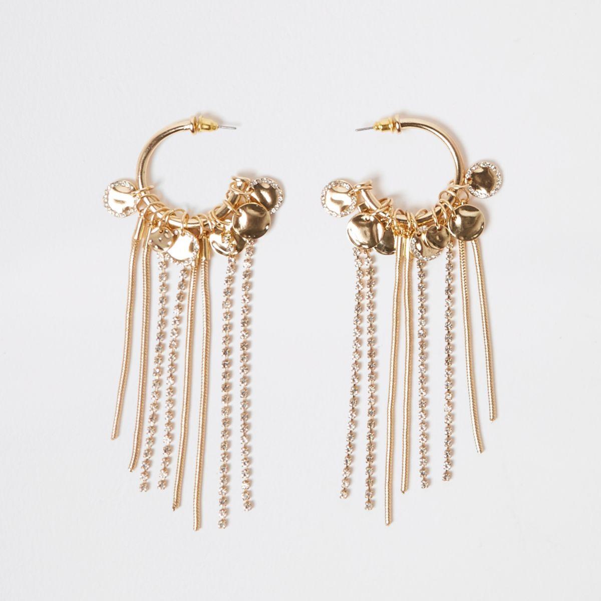 Gold tone hoop drop earrings
