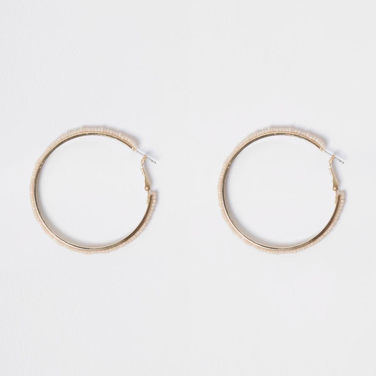 Gold tone seedbead hoop earrings