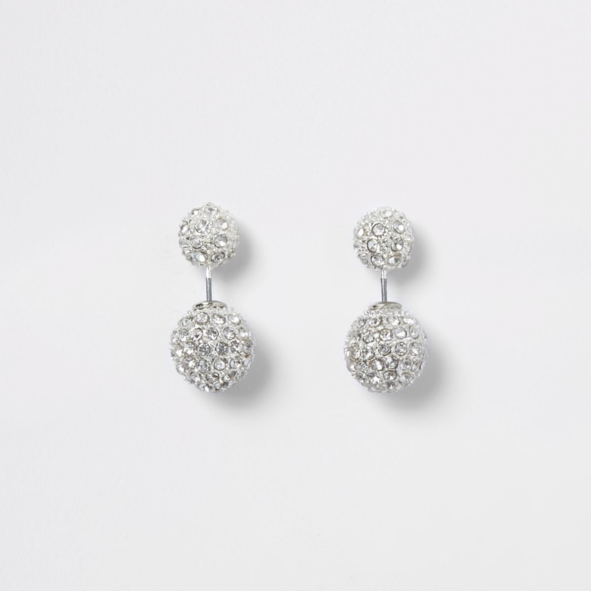 Silver tone diamante front and back earrings