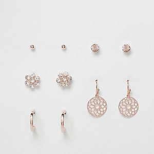 Rose gold tone filigree earrings pack