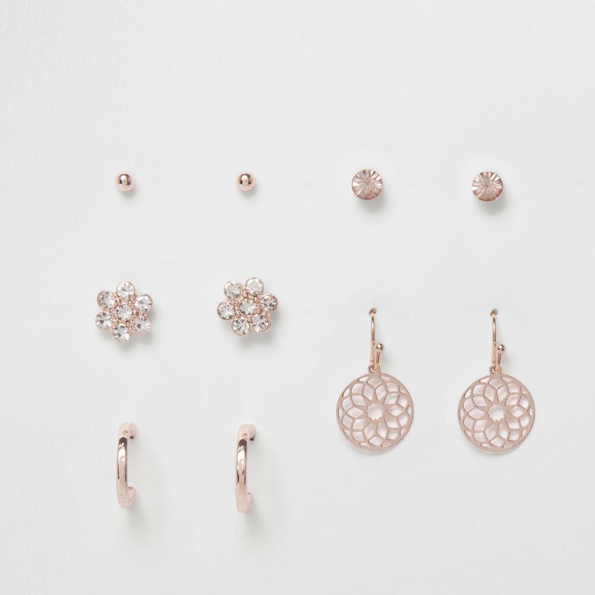 Rose gold tone filigree earrings pack