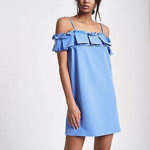 Blauwe cami-jurk in bardotstijl met ruches