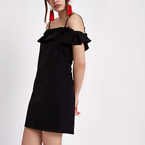 Black pleated frill bardot dress