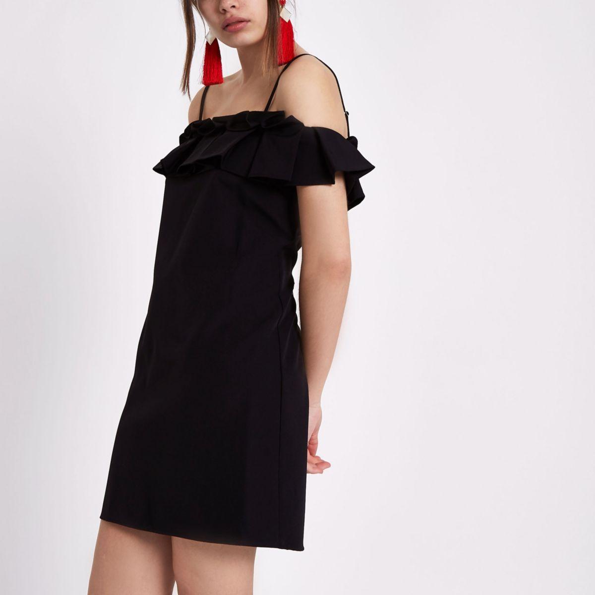 Black pleated frill bardot dress