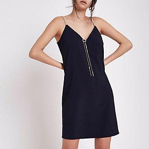 Navy slip dress with detachable chain