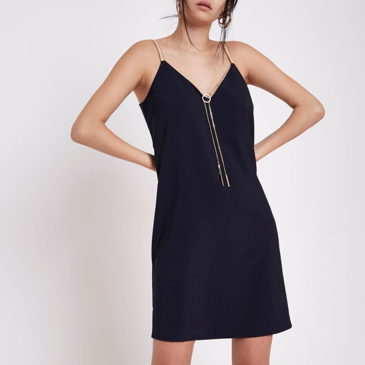 Navy slip dress with detachable chain
