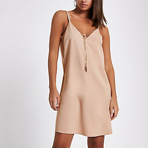 Grey slip dress with detachable chain