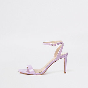 Paarse minimalistische sandalen met midi-hak