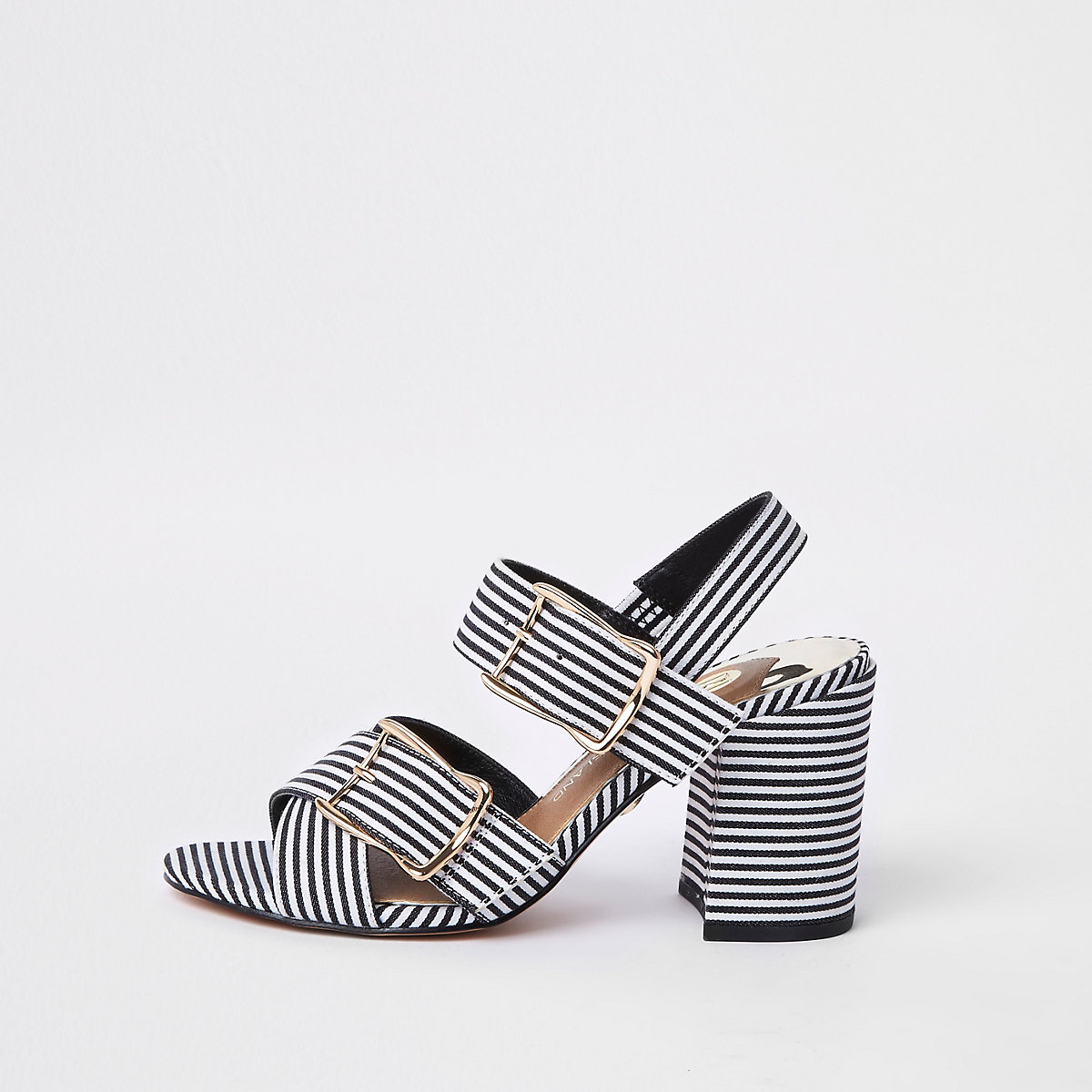 Zwarte gestreepte tweedelige sandalen met blokhak