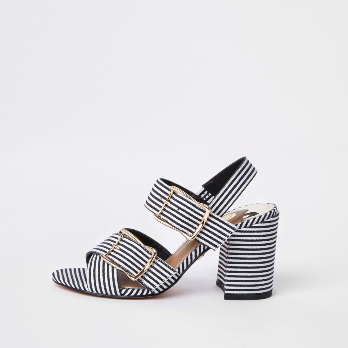 Black stripe two part block heel sandals