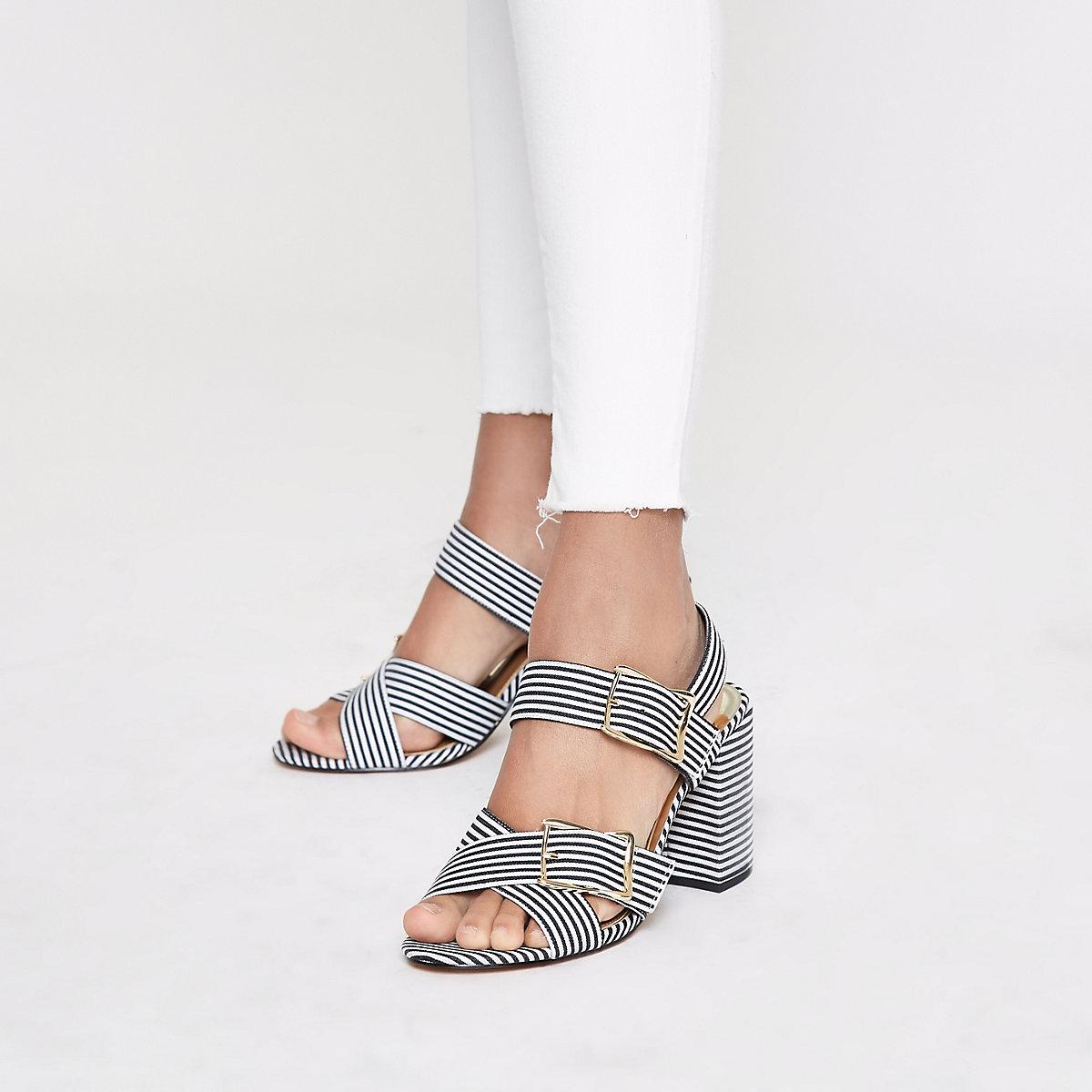 80285bea789 Black stripe two part block heel sandals - Sandals - Shoes   Boots ...