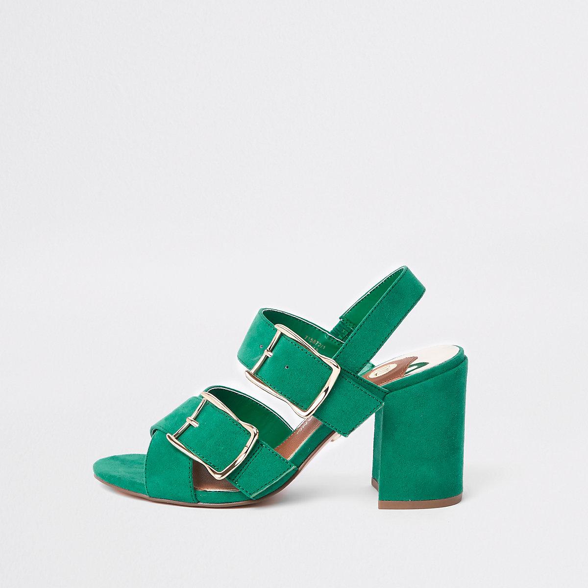 Green double buckle heel sandals