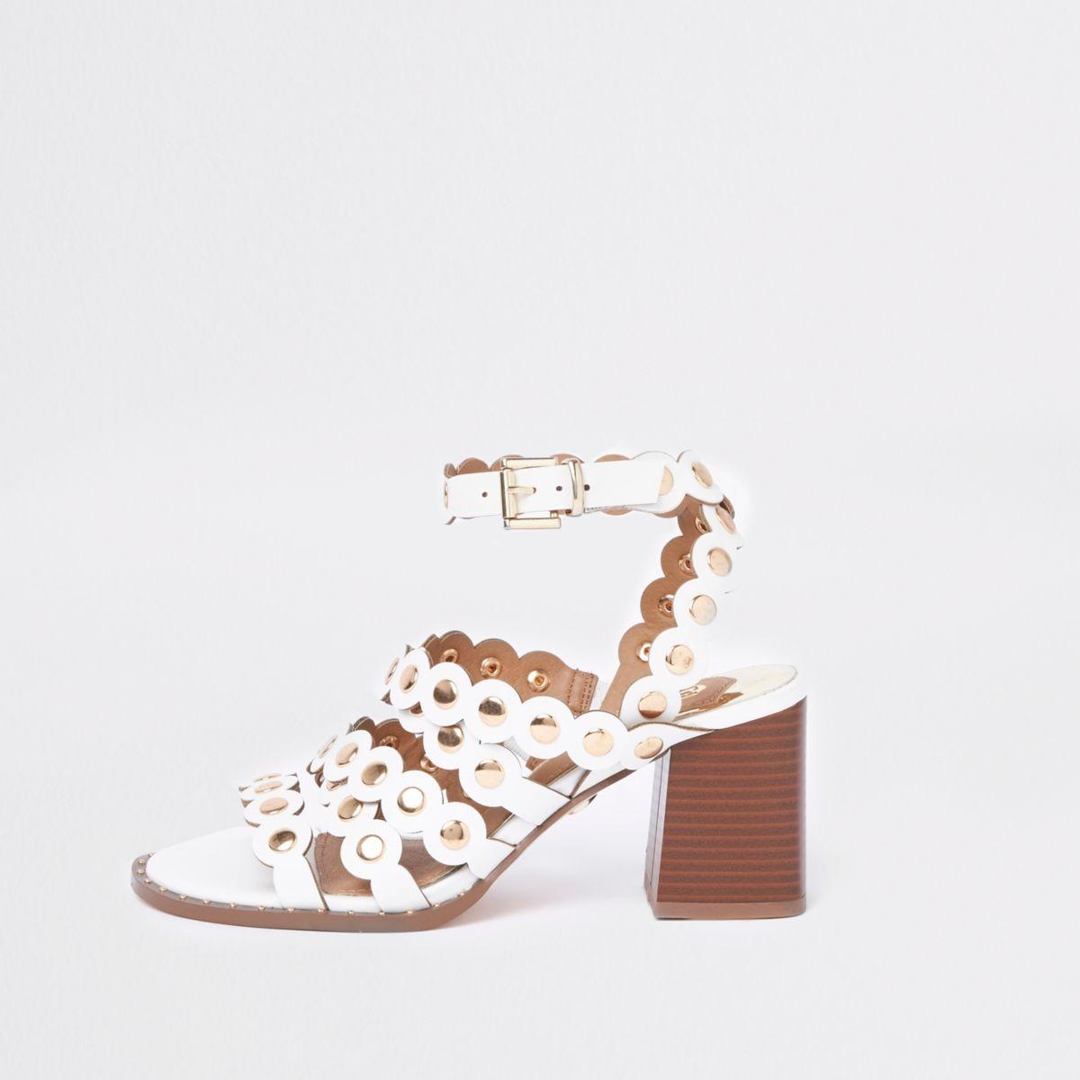 White scallop block heel sandals