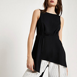 Black asymmetric hem sleeveless tunic top