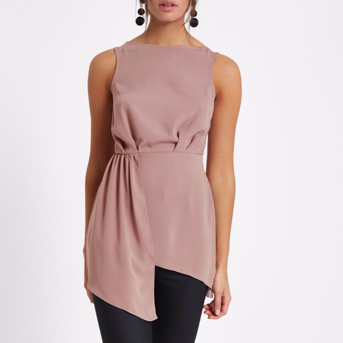 Pink asymmetric hem sleeveless tunic top