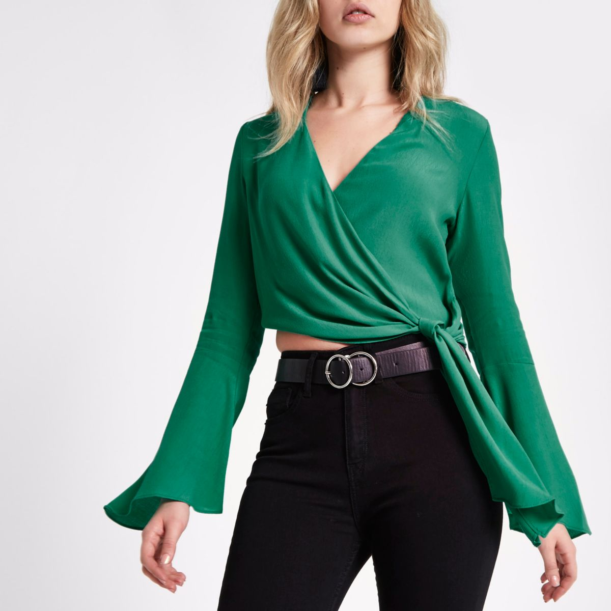 Green bell sleeve wrap ballet crop top