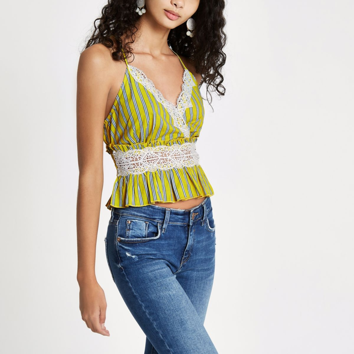 Yellow stripe lace cami top