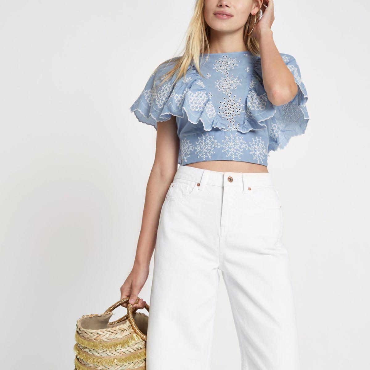 Blue broidery tie back crop top