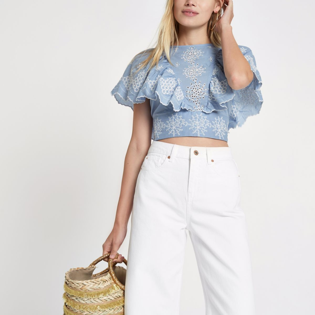 Blue broidery tie back crop top