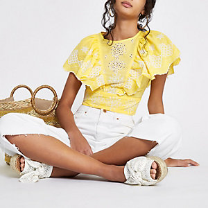 Yellow embroidered frill sleeve crop top