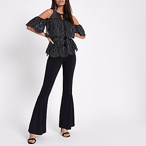 Black lace frill cold shoulder top
