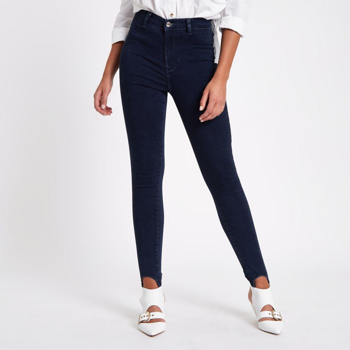 Harper - Donkere denim jeans met bandjes onder de voet