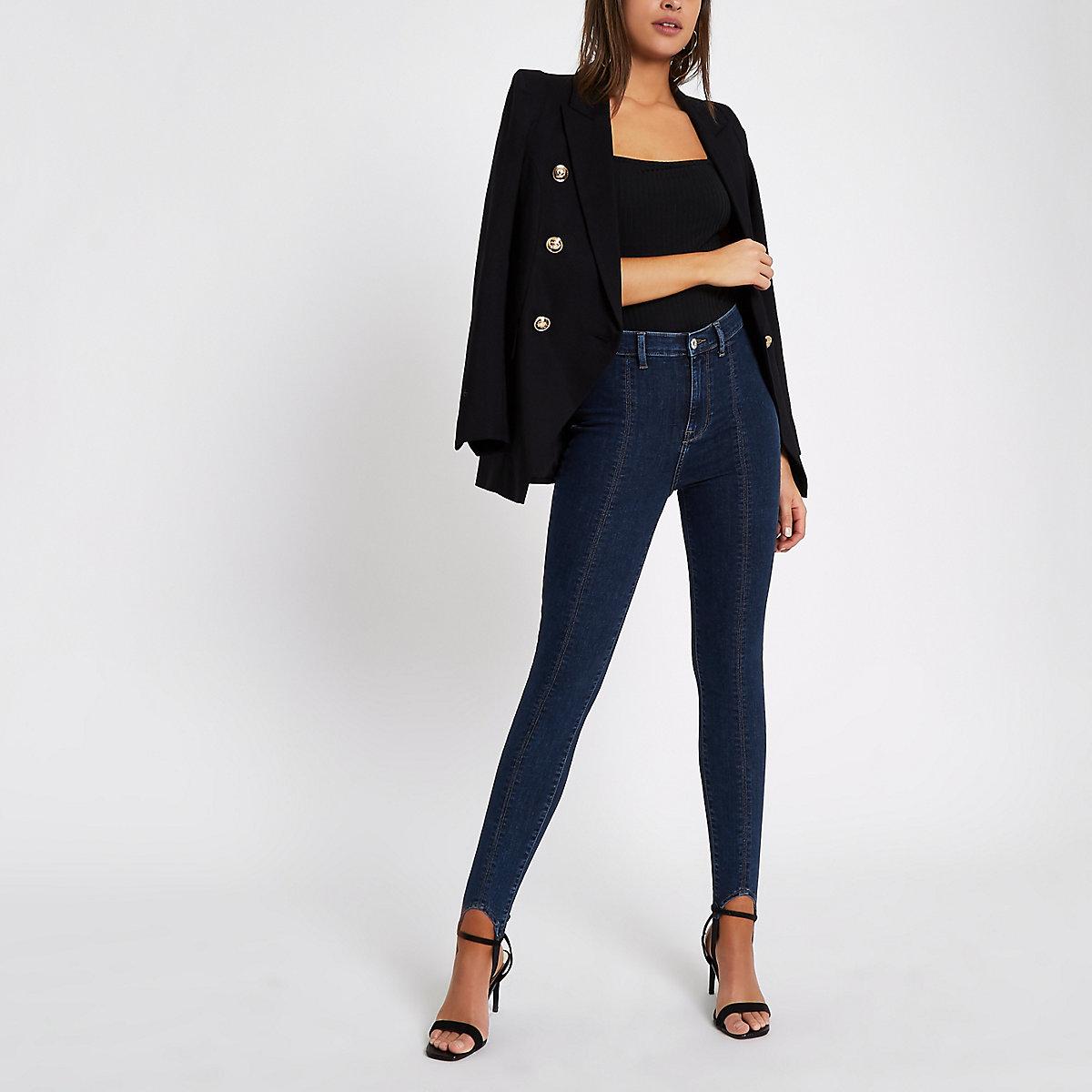 Harper - Middenblauwe skinny jeans met bandje onder de voet