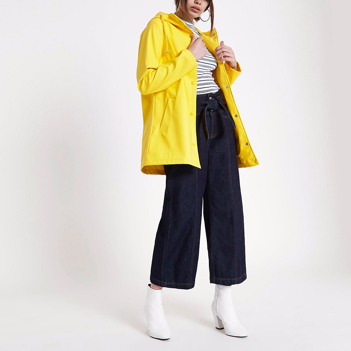Yellow waterproof hooded rain mac