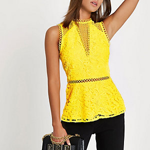 Yellow lace sleeveless peplum top