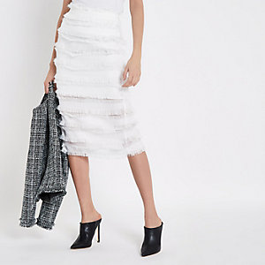 White frayed detail pencil skirt