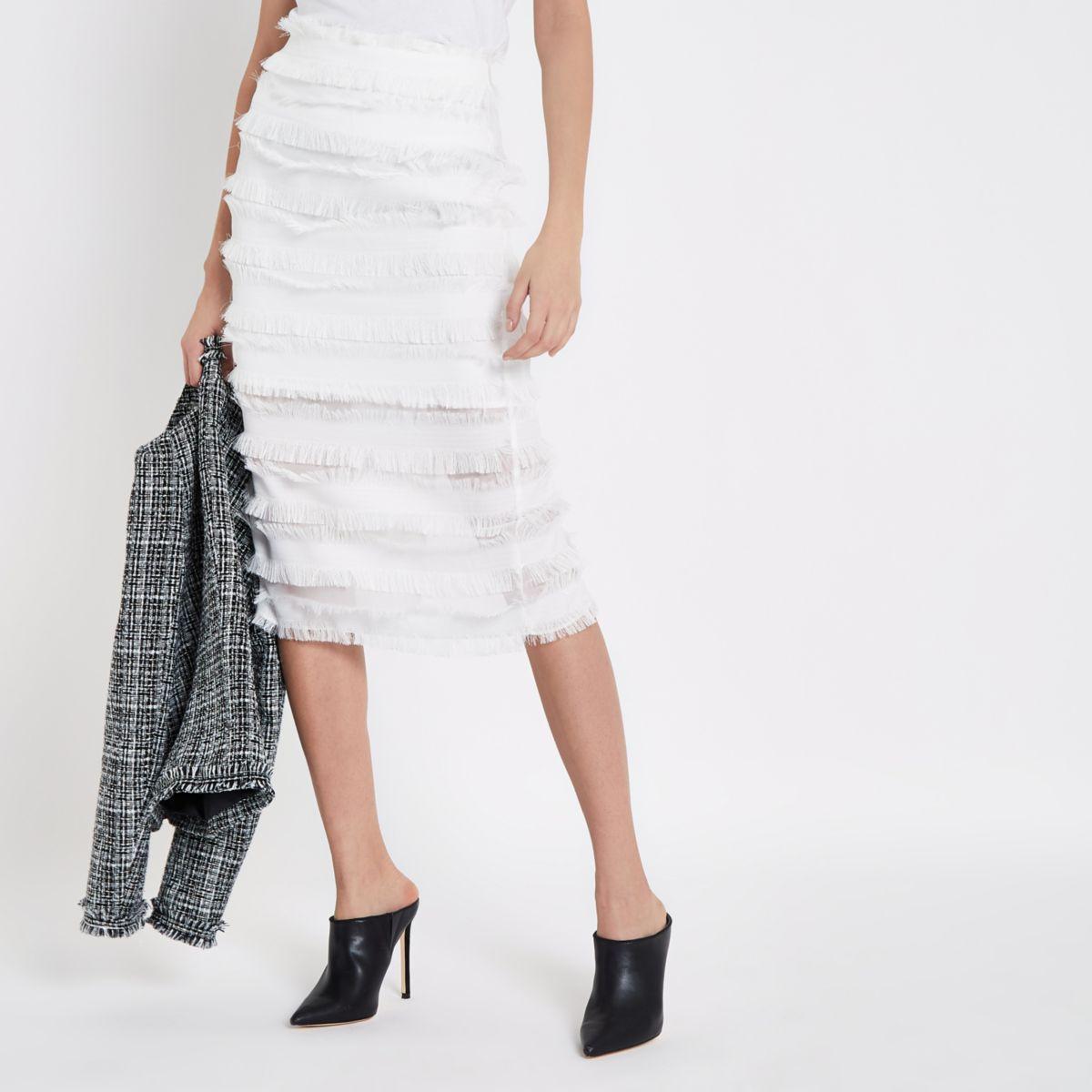 White frayed detail pencil skirt