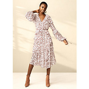 Cream RI Studio ditsy frill maxi dress