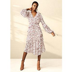RI Studio - Crème midi-jurk met bloemenprint en ruches