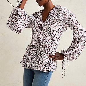 Purple RI Studio floral frill blouse