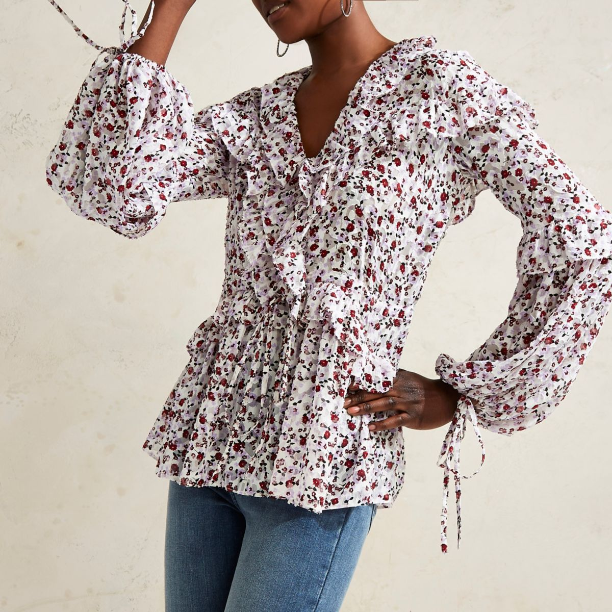 Purple RI Studio floral frill blouse