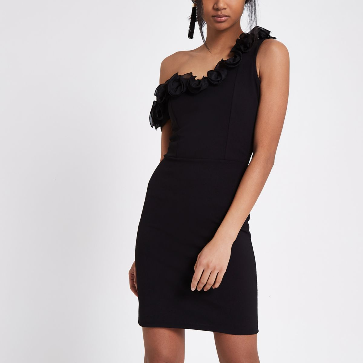 Black one shoulder frill bodycon dress
