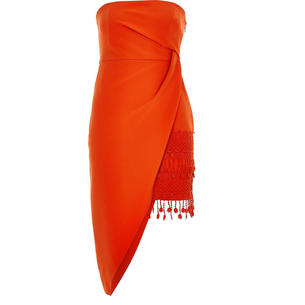 con Vestido naranja menuda asimétricas color borlas en ajustado 1grxw5gqU
