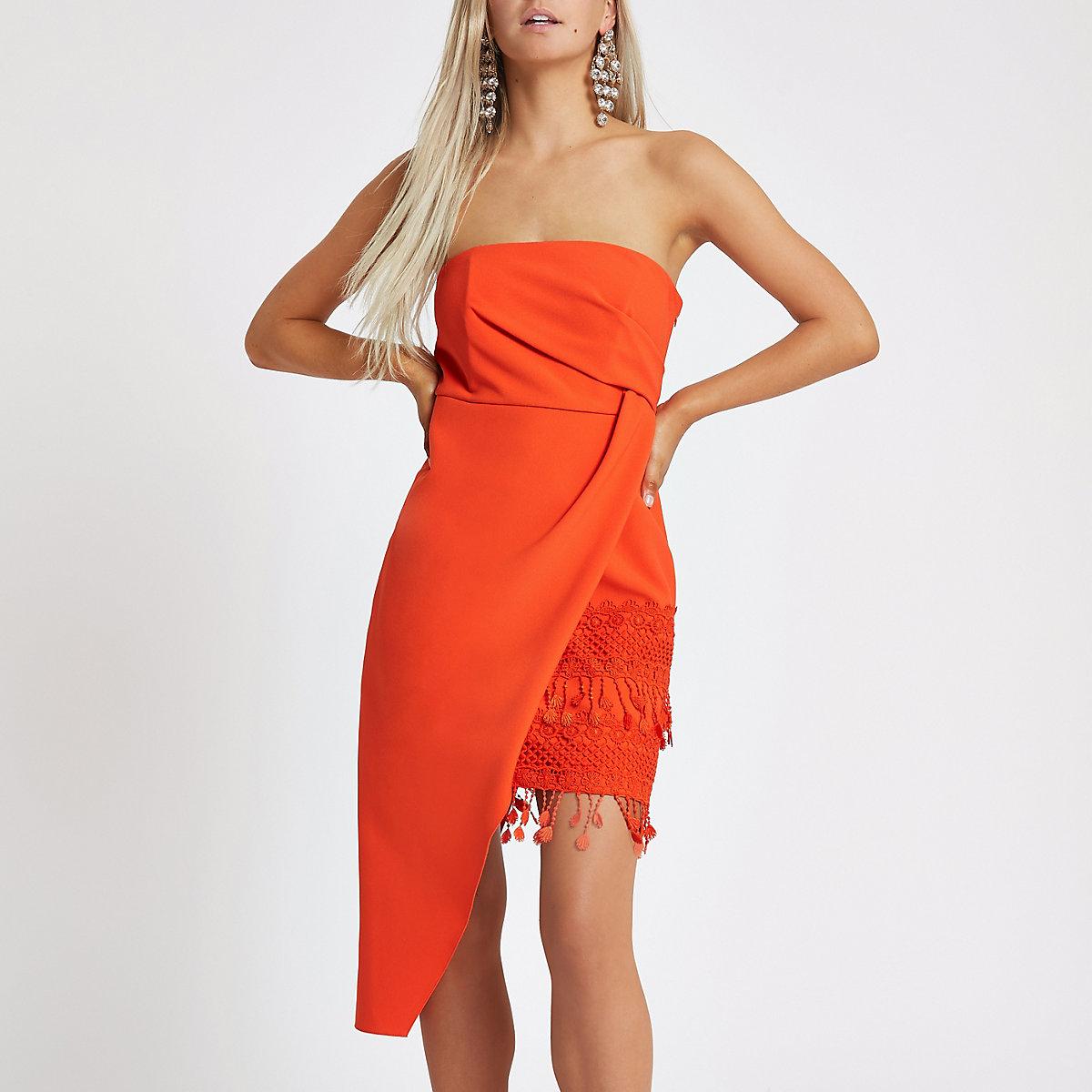 Petite orange asymmetric tassel bodycon dress