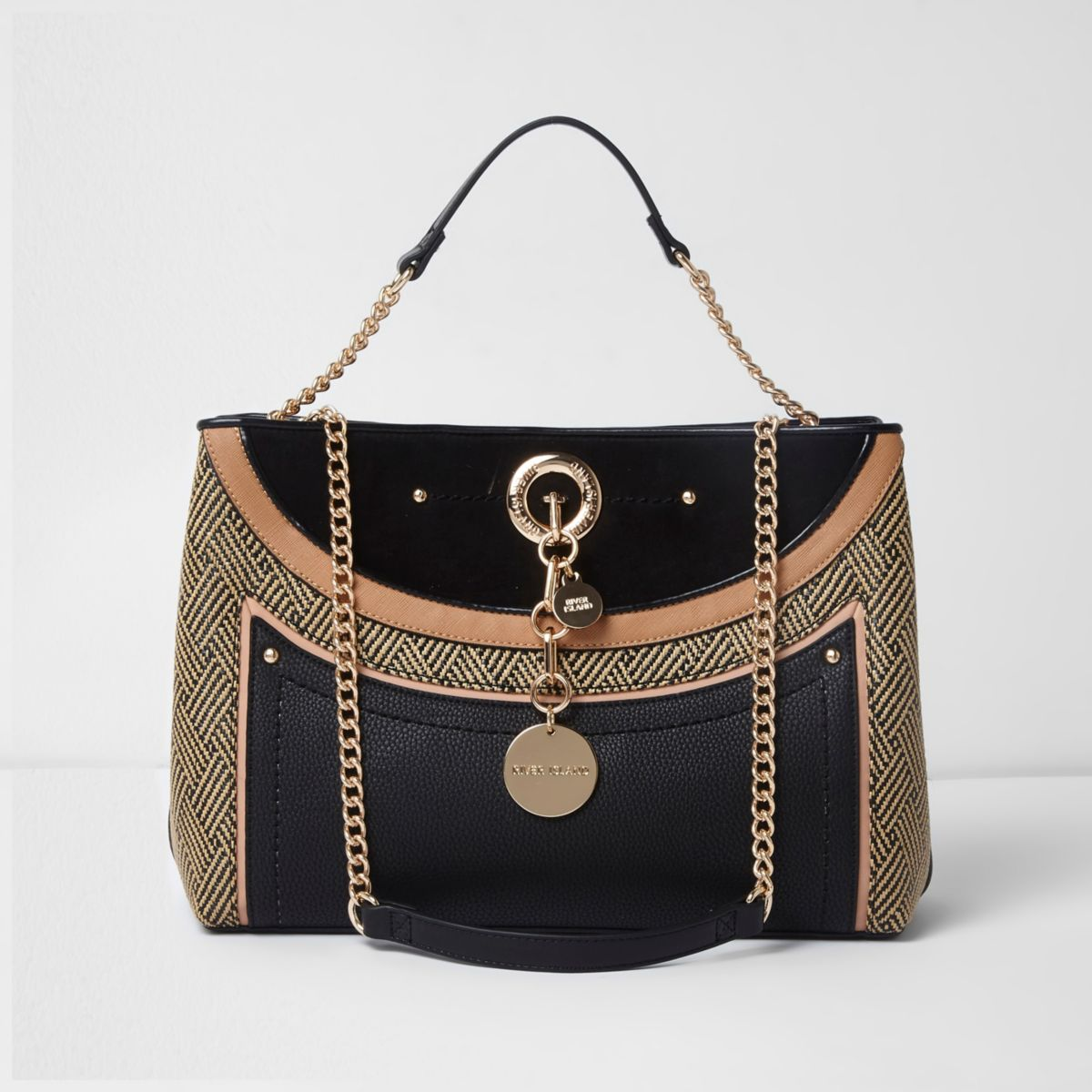Black mixed texture woven straw tote bag