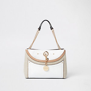 Witte geweven onderarmtas met ketting