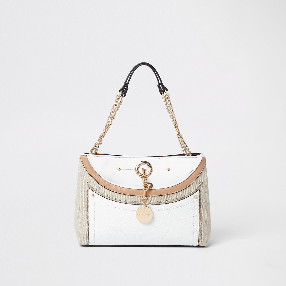 White woven pocket chain underarm tote bag