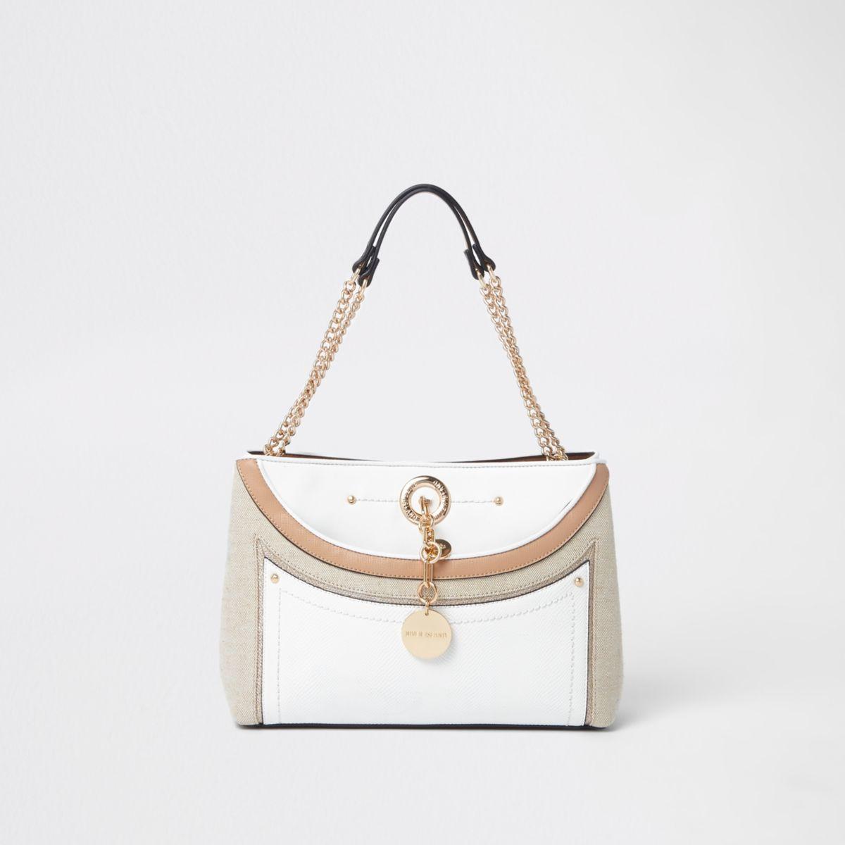 White woven pocket chain underarm tote bag